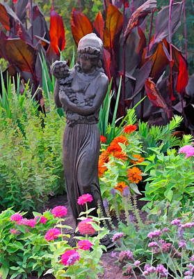 Photograph - Girl With Grapes Statute In Garden by Ginger Wakem