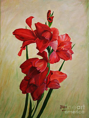 Garden Gladiolas Art Print by Jimmie Bartlett