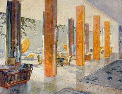 Garden Hall Of A Hotel, 1929 Art Print
