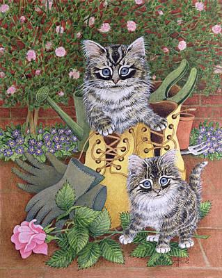 Puss Painting - Garden Helpers  by Pat Scott