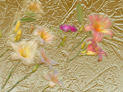 Mixed Media - Garden In Gold Leaf by Steve Karol
