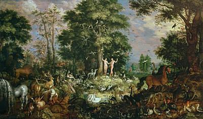 Wild Boar Painting - Garden Of Eden by Roelandt Jacobsz Savery
