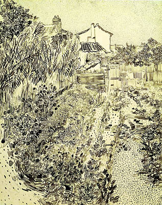 Garden Drawing - Garden Of Flowers by Vincent Van Gogh
