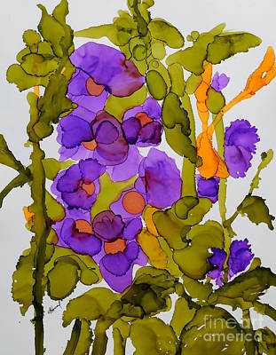 Garden Of Hollyhocks Art Print by Vicki  Housel