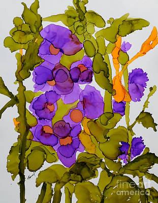Garden Of Hollyhocks Art Print