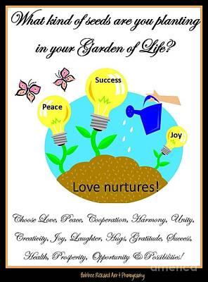 Garden Of Life Art Print by Bobbee Rickard
