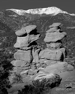 Photograph - Garden Of The Gods Siamese Twins Pike's Peak - Colorado Landscape Black And White Bw by Jon Holiday