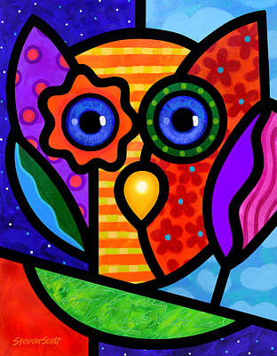Painting - Garden Owl by Steven Scott