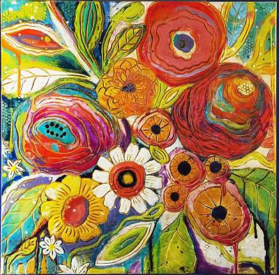 Encaustic Painting - Garden Party by Jackie Cort