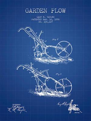 Farming Digital Art - Garden Plow Patent From 1886 - Blueprint by Aged Pixel