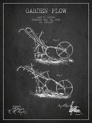 Farming Digital Art - Garden Plow Patent From 1886 - Dark by Aged Pixel