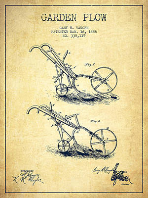 Farming Digital Art - Garden Plow Patent From 1886 - Vintage by Aged Pixel