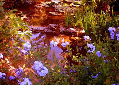 Purple Flowers Digital Art - Garden Pond by Amy Vangsgard