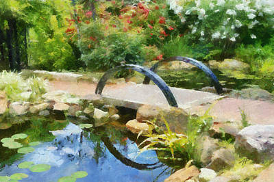 Painting - Garden Pond Reflections by Ann Powell