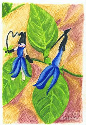 Woman Painting - Garden Rabbit20 Salvia Guaranitica by Vin Kitayama