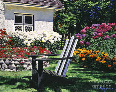 Bed Painting - Garden Resting Place by David Lloyd Glover