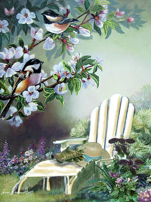 Chickadee Painting -  Chickadees In Blossom Tree by Regina Femrite