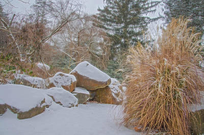 Photograph - Garden Scene During Winter Snow At Sayen Gardens by Beth Sawickie