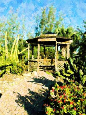 Mixed Media - Garden Shadows by Florene Welebny