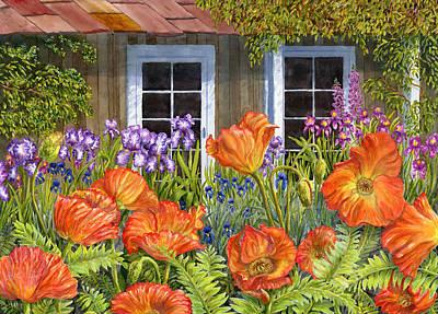Floral Landscape Painting - Garden Shed by Karen Wright