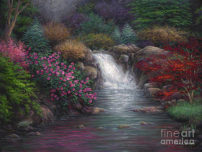 Waterfalls Painting - Garden Spring by Chuck Pinson
