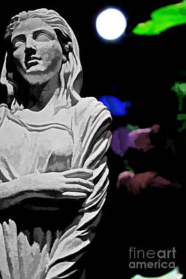 Religious Artist Photograph - Garden Statue At Night by Tom Gari Gallery-Three-Photography