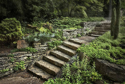Relaxing Photograph - Garden Steps by Tom Mc Nemar