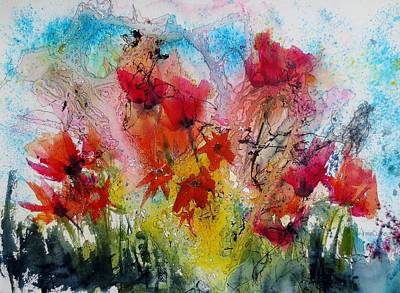 Poppies Field Painting - Garden Tangle by Anne Duke