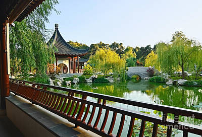 Modern Feathers Art - Garden Terrace - Chinese Garden at the Huntington Library. by Jamie Pham