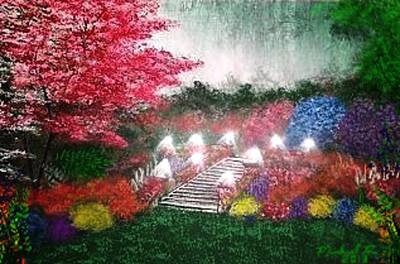 Nightlight Painting - Garden Terrace by Michael Rucker