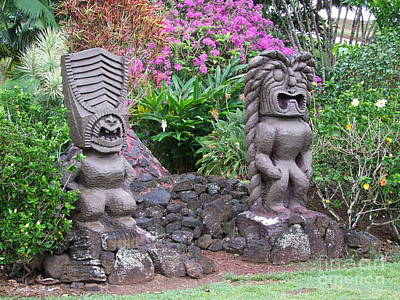 Hawaiian Artifacts Photograph - Garden Tikis by Mary Deal