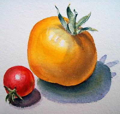 Red Tomatoes Painting - Garden Tomatoes by Irina Sztukowski