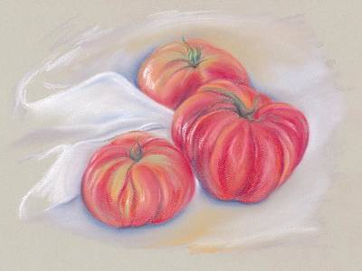 Pastel - Garden Tomatoes With Drape by MM Anderson