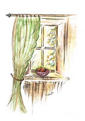 Fruit Bowl Window Painting - Garden View by Teresa White