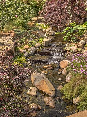 Hdr Photograph - Garden Water Fall At Woodward Park 2f by John Straton