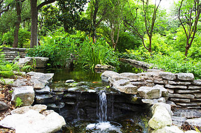 Photograph - Garden -  Waterfall Austin Tx - Luther Fine Art by Luther Fine Art