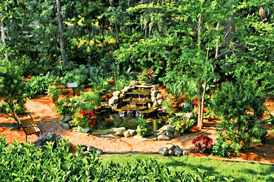Photograph - Garden Waterfall Second Story View by Ginger Wakem