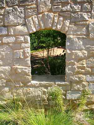 Photograph - Garden Window Arch - Wildflower Center Austin by Connie Fox
