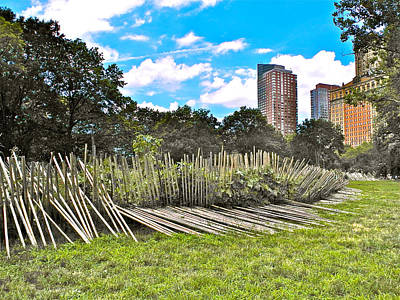 Bamboo Fence Digital Art - Garden With Bamboo Garden Fence In Battery Park In New York City-ny by Ruth Hager