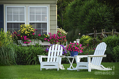 Petunia Photograph - Garden With Lawn Chairs by Elena Elisseeva