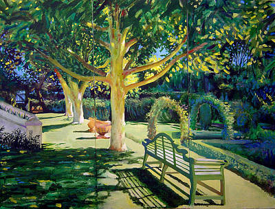 Painting - Garden With Oaks by Geoff Greene