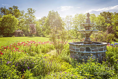 Gardening Photograph - Garden With Stone Fountain by Elena Elisseeva