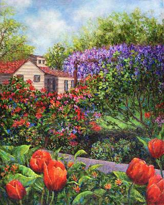 Wisteria Painting - Garden With Tulips And Wisteria by Susan Savad