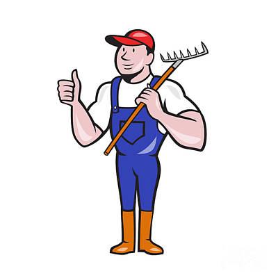 Gardener Farmer Hold Rake Thumbs Up Cartoon Art Print