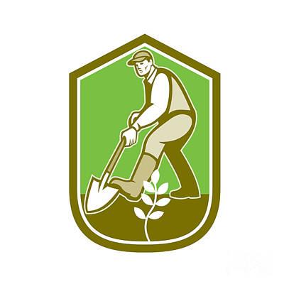 Agriculture Digital Art - Gardener Landscaper Digging Shovel Cartoon by Aloysius Patrimonio
