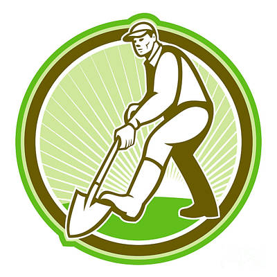 Shovel Digital Art - Gardener Landscaper Digging Shovel Circle by Aloysius Patrimonio