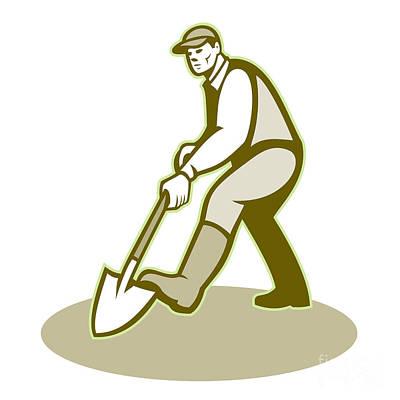 Edward Hopper - Gardener Landscaper Digging Shovel Retro by Aloysius Patrimonio