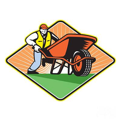 Barrow Digital Art - Gardener Pushing Wheelbarrow Retro by Aloysius Patrimonio