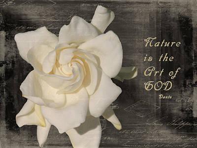 Gardenia And Quote Art Print