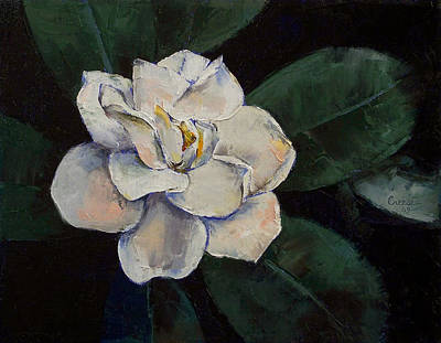 Flor Painting - Gardenia Oil Painting by Michael Creese